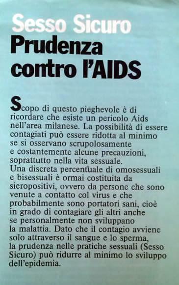 Aids. L'oscuro effetto del contagio, 1985